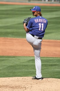 Yu Darvish pitching at Goodyear Stadium