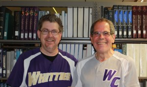 Terry Cannon, Executive Director of the Baseball Reliquary and Joe Price, Whitter College Genevieve S. Connick Professor of Religious Studies.