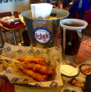 Shrimp corn Dogs - new ballpark food.