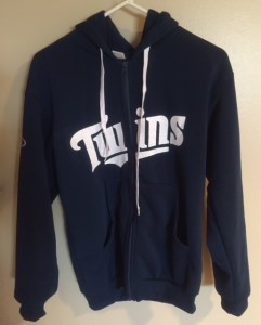 The Twins hoodies proved a popular Opening Day giveaway - for all 40,000+ fans.