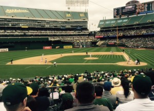 "My son-in-law Amir and I had great seats for the Oakland-Chicago contest- (Thanks to my daughter Elan.) Note the tarp covering the third deck seats and ""Mount Davis"" in the outfield - part of what you get when you're housed in the last facility serving MLB and the NFL.  The A's fans were loud, loyal and knew the game. One fan noted that ""Fans come"