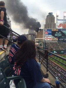 Pre-game action included a fire in a nearby building. Indians' bats ptoved hotter.