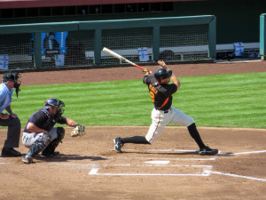 Pence Hitting one of his two Home Runs against the Rockies