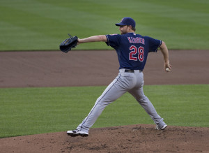 Corey Kluber tied for the MLB lead with four complete games - helping the Indians achieve a 2015 MLB-best 11 CG. Photo by Keith Allison.
