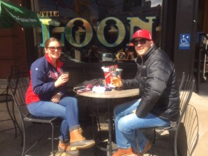 "Twins Fans Elizabeth Wallace and Paul Christensen from Edina showed true Minnesota spirit - enjoying cold pre-game beverages ""al fresco,"" despite chilly temps and a brisk breeze."