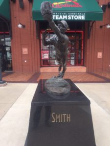 The Ozzie Smith statue outside the Cardinals Team Store.