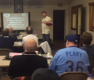 Peter Gorton tells the John Donaldson story. at the Halsy Hall SABR Chapter meeting.