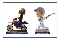 2017 bobblehead giveaways range from the unique (Robin Yount Motorcyle) to the traditional (Gary Sanchez' swing.)