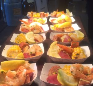 Shrimp Boil samples ready for tasting. It was, indeed, a feeding frenzy.