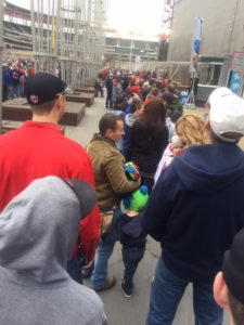 Long lines of fans - anxious for the return of baseball - waited for the Target Field gates to open.