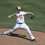 Dylan Bundy, suffered a shift-beating, no-hitter stopping buntsingle. Photo by Keith Allison